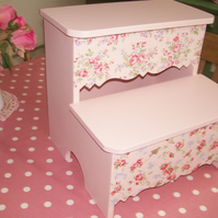Shabby Chic Wooden Step Stool made using Cath Kidston design nursery home gift
