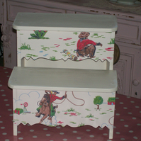 Shabby Chic Wooden Step Stool made using Cath Kidston Cowboy design nursery home