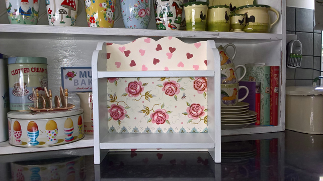 Shabby Chic Wooden Display Shelf  Unit  made using Emma Bridgewater Rose & Bee