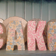 Shabby Chic Cake Letters made using Liberty designs Shelf Display Cupcake