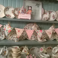 Handcrafted Wooden Bunting Garland made using Cath Kidston Designs Party Wedding
