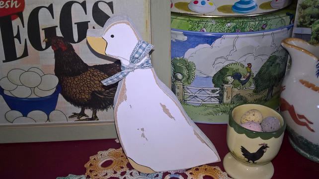 Handcrafted Wooden Freestanding Duck Goose Cath Kidston Paint Kitchen Shelf Gift