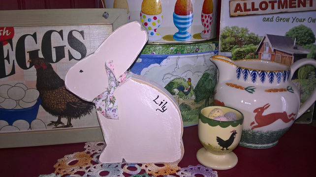 Wooden Freestanding Bunny Rabbit Easter Mothers Day Dresser Display Gift Shelf