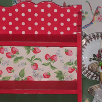 Handcrafted Wooden Shelf Storage Unit made using Cath Kidston Design Strawberry