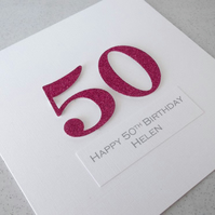 50th birthday card - personalised with any age and message