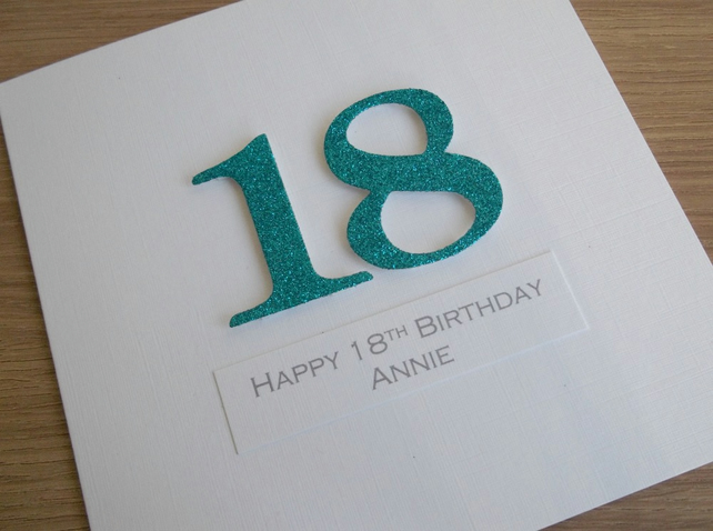 18th birthday card - personalised with any age and message
