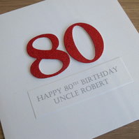 Handmade 80th birthday card