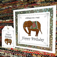 Elephant – Happy Birthday card & free gift tag