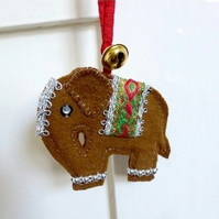 Elephant & bell hanging ornament