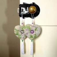Lavender heart for Mum, Auntie or Grandma (vintage rose beads, buttons & tassel)