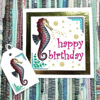 Seahorse - Happy Birthday card & free gift tag