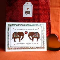 Elephants - Valentine's Day card & free gift tag