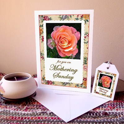 Vintage Rose - Mothering Sunday card & free gift tag