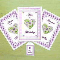 Lavender heart – Birthday card & free gift tag for Mum, Auntie or Grandma