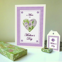Lavender heart - Mother's day card & free gift tag