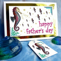 Seahorse (father & children) - Father's Day card & free gift tag