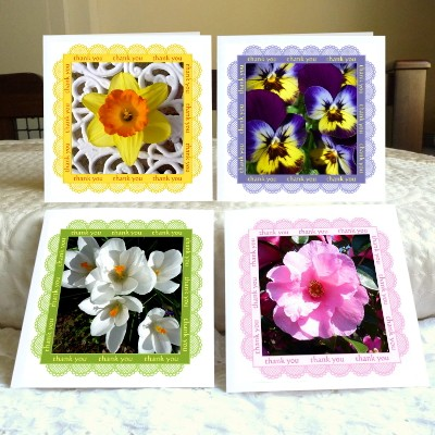 Thank You cards – 'Spring Time' (daffodil, viola, crocus, camellia)