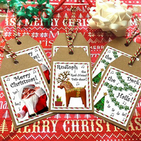 Set of 6 Christmas 'festive funnies' gift tags - Santa, Rudolph & Deck the Halls