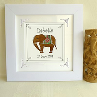 Personalised framed elephant picture (new baby, christening, birthday)