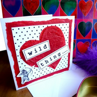 'Wild Thing...' Polka dots & cherub greeting card