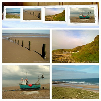 4 greeting cards - 'Gone to the Beach' (Norf, Suff, IoM & Northumberland)