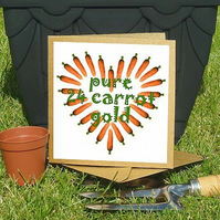 'Cottage Garden Vegetables' pure 24 carrot gold greeting card