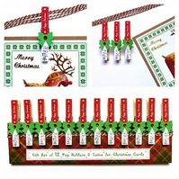Gift set of 12 peg holders & twine for Christmas cards