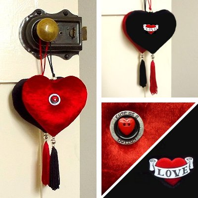 Luxury velvet hanging heart with silver-plated beads, buttons & a tassel