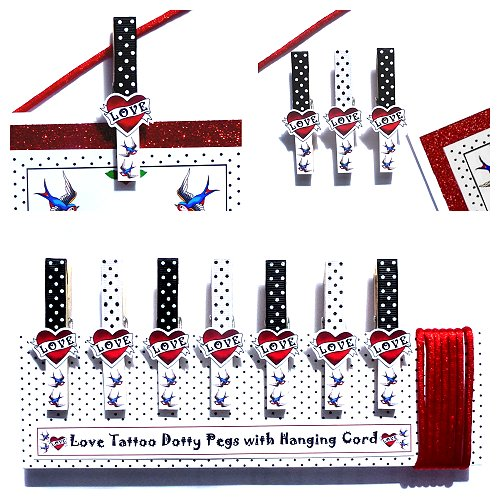 Gift set of 7 Love Tattoo Dotty Pegs with Hanging Cord