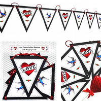Indoor bunting - Love Tattoo with Hearts & Swallows