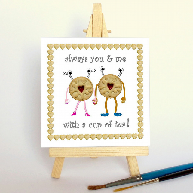 'Biscuits & tea...' with a wooden display easel. Free UK P & P