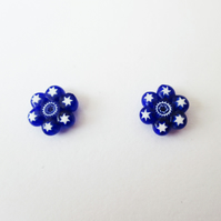 Murano Millefiori Cluster Fused Glass Stud Earrings