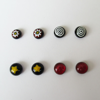 Murano Millefiori Fused Glass Stud Earrings Set