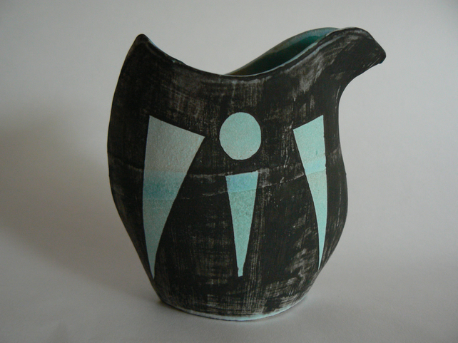 Scandinavian Style Ceramic Bird Vase in Black and Blue
