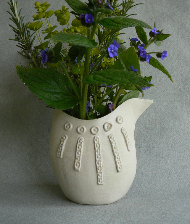 Ceramic Bird Vase in Soft White Glaze