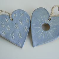 Two Blue Ceramic Hearts