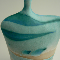 Turquoise Wave Ceramic Bottle