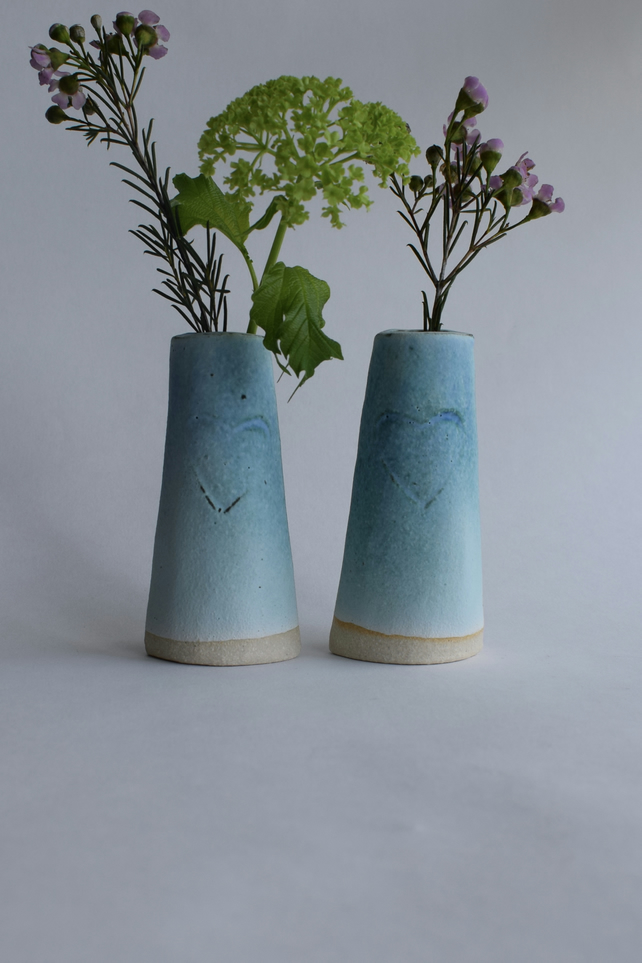 A Pair of Ceramic Heart Vases for Flowers