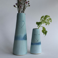 Heart Vases in Turquoise Glazed Ceramic