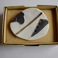 Porcelain Map Brooch