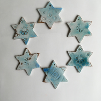 Six Christmas Stars in Turquoise Ceramic