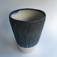 Stoneware Vase in Blue and White