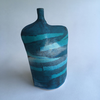 Ceramic Bottle with Waves