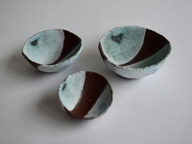 Seashell Nesting Bowls in Red Stoneware
