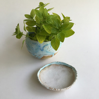 Ceramic Pebble Planter with Saucer