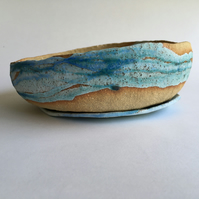 Wide Pebble Planter with Saucer