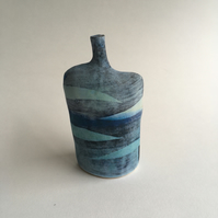 Waves Bottle in Stoneware Ceramic