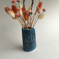 Blue Ceramic Vase for Flowers