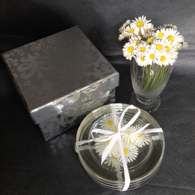 Hand painted daisies -  set of 4 gift boxed glass coasters (free postage)