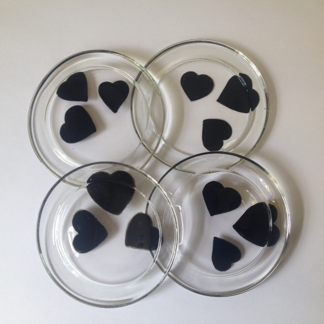 4 hand painted glass coasters with black hearts (free postage)
